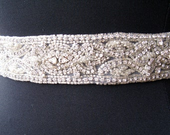 Crystal Bridal Sash, Swarovski Bridal Sash, Rhinestone Wedding Belt, Ivory Bridal Sash, Art Deco, Gatsby,Beaded Bridal Sash