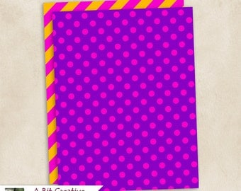 Graphic Design - 90's Theme Party - Pattern Papers - DIY Printable, Graffiti, Neon, Dots, Pink, Purple, Yellow, Orange, Black, Turquoise