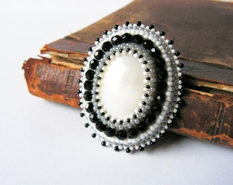 White Black Embroidery Brooch Bead embroidered Brooch Beadwork Brooch Mother of Pearl Brooch Black White Grey Brooch MADE TO ORDER