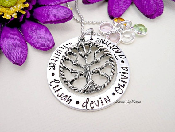 Hand Stamped Jewelry Personalized Jewelry Family Tree of Life - Personalized Handstamped Keepsake Mother Grandma Necklace