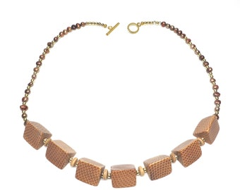 Vintage Snake Skin Necklace Tan Gold Beads Geometric