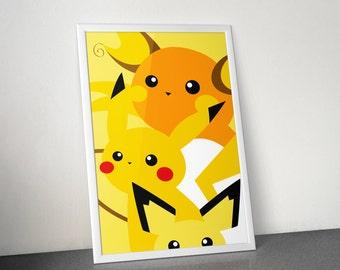 Pikachu Family Poster | Raichu, Pikachu & Pichu