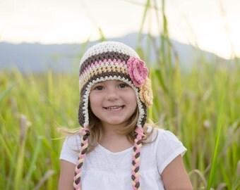 toddler girls hat, baby hat, girls hat, crochet girls hat, earflap hat, girls hat, hat with flowers
