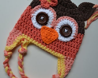 crochet owl  hat, owl hat, crochet kids hat, baby hat, custom colors