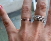 Tiny Feather Sterling Silver Stacking Ring - Brass on Silver - custom made to order
