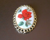 Vintage porcelain rose brooch or necklace.  Costume jewelry.