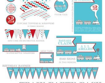Modern Train Party Pack - Party Supplies - Custom Party Printables - Choo Choo Train