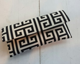 Black and Natural Towers Clutch- Wedding Clutch, Black Clutch, Bridesmaid Gift