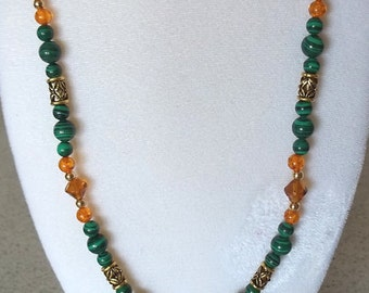 Malachite, Amber and Glass Beaded Necklace