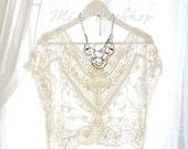Lace Crochet Sheer Cape Poncho Blouse Top Sun Beige Cream ,women's fashion clothing Darling beach coverup