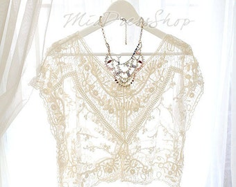 SUMMER CLEARANCE SALE  - Lace Crochet Sheer Cape Poncho Blouse Top Sun Beige Cream ,women's fashion clothing Darling beach coverup