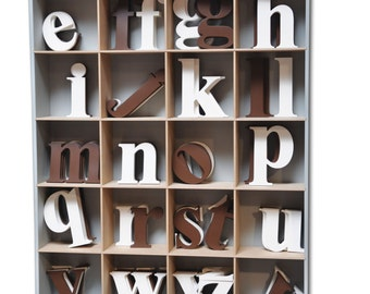 Espresso or White Lowercase Wooden Wall Letters  8 inch high - a to z  - kids room, initial, name, home decor, boy, girl, baby, nursery