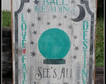 Fortune Teller, Black Cats, Halloween,  Crystal Ball, Primitive, Distressed Signs