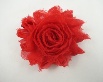 Red Flower Hair Bow - Shabby Flower Hair Bow - Shabby Chiffon Hair Clip - Red - Red Hair Bow