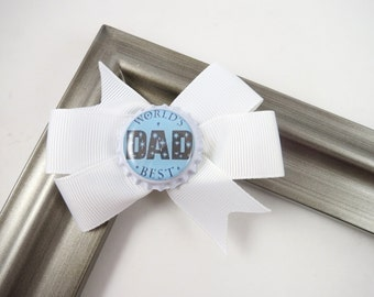Dad Hair Bow - Worlds Best Dad Bow - White and Blue Hair Bow -  Small Hair Clip - Father's Day Small Hair Bow - Pinwheel Hair Bow
