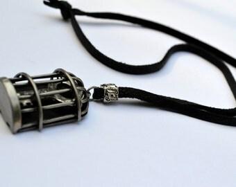 Vintage skeleton key in cage - Steampunk necklace