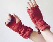 Knitted Mittens Women's Winter Cozy Fingerless Gloves Red, Fingerless Gloves, Zipper Gloves, Gloves Teens, Gloves Mittens, Mitts, Winter
