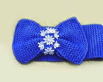 Knitted Bow Headband, Wide Bow Ear Warmer, Women's Fashion Accessory, Fall Headband, Knotted Bow Headband in Royal Blue, Winter Fashion