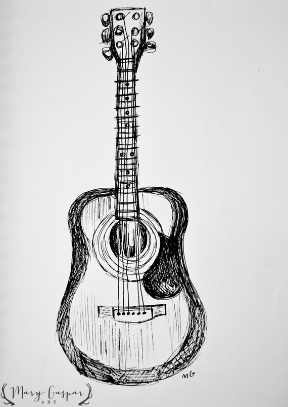 original black and white drawing of acoustic guitar done in. Black Bedroom Furniture Sets. Home Design Ideas