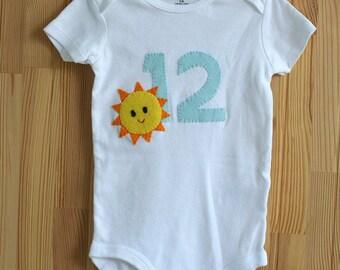 Custom baby gift etsy baby monthly milestone month twelve personalized baby bodysuit felt applique designs custom negle Choice Image
