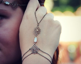 bridal jewlery crystal slave bracelet, hand piece, bridesmaid gift, wedding accessory