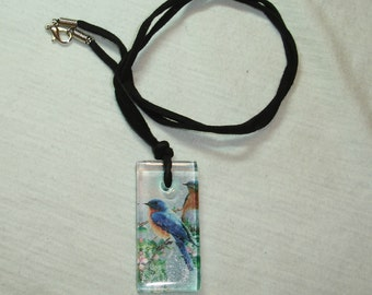 Blue Bird Glass Pendant Necklace