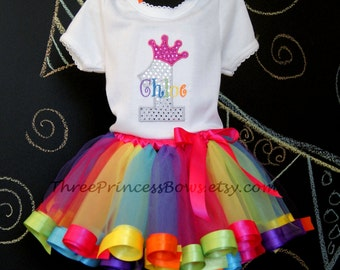 Rainbow Princess Tutu Set Candy land candyland Rainbow Ribbon Tutu First Birthday
