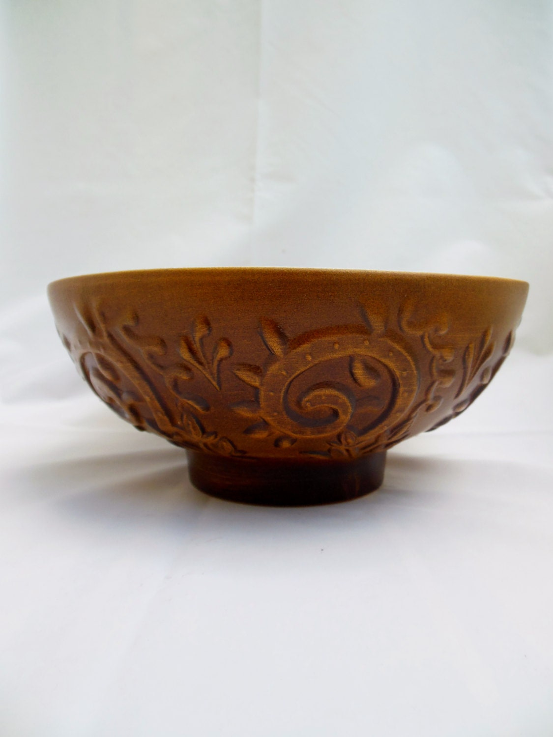 Haeger Usa Rusty Brown Pottery Planter 102 Bowl With Vines