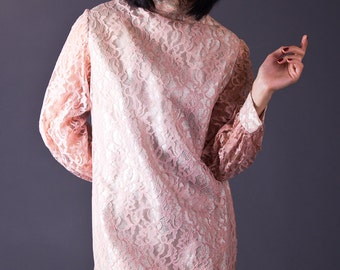 SALE 50% OFF 60s Vintage Lace Party Dress in Pale Pink & Silver