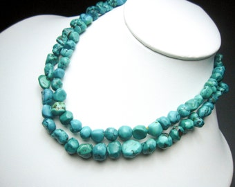 Real Natural Untreated Undyed Mother natural Top Quality Hard to find rare Gemstone rock Blue Turquoise Necklace pure 925 sterling silver.