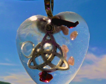 CELTIC KNOT Orgone Heart Amulet with Rare Rutile, Rhodochrosite and Garnet. Frequency-Charged EMF Protection Orgonite.