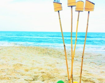 Set of 4 Tall Bamboo Drink Stakes
