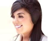 100% Black Wool Cashmere Headband Earmuffs or Ear Warmer Ear muff Ear muffs Earwarmer with Black Magnetic Flower