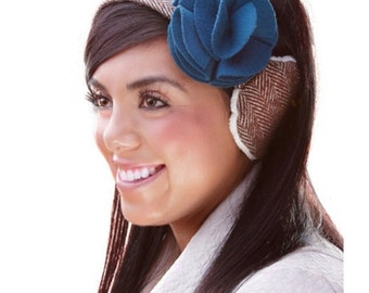 100% Wool Chevron Earmuff, Earmuffs, Ear Warmer, Earwarmer, Winter Headwear, Ear muff with Magnetic Teal Flower