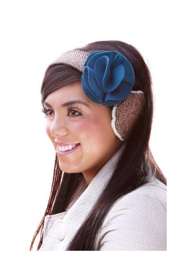 100% Wool Chevron Earmuff, Earmuffs, Ear Warmer, Earwarmer, Winter Headwear, Ear muff with Magnetic Teal Flower
