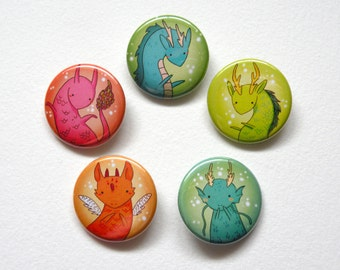 colorful dragon pinback button pack: