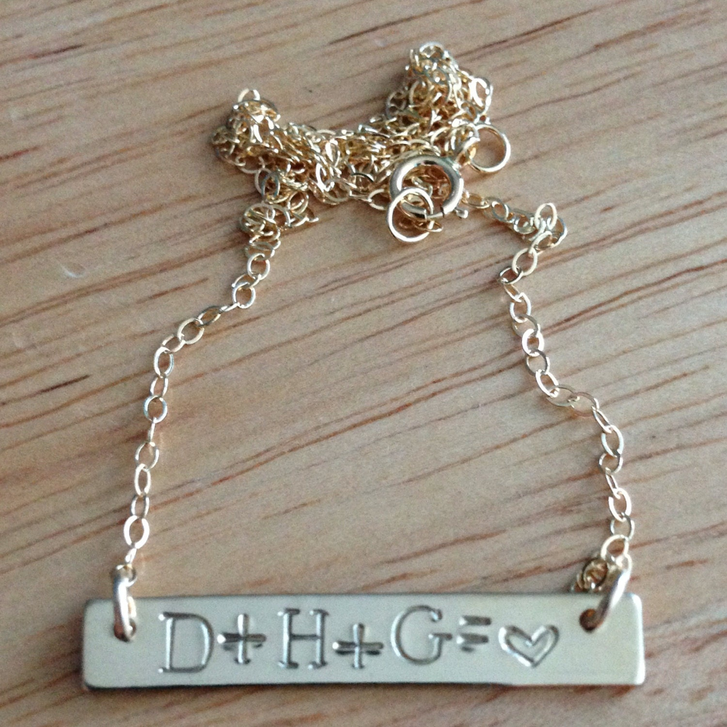 Bar Necklace, 14kt Gold Filled, Hand Stamped, Personalized