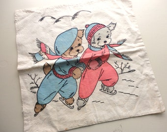 vintage embroidered puppies skating pillow cover