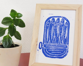 Sardine postcard - linocut