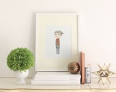 Scarf Girl  8 x 10 Art Print - Ink Illustration, Girl Print, Nursery Decor, Children's Art, Illustrated Print