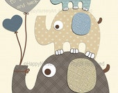 Baby elephants nursery art - elephants wall art - nursery picture - kids room decor, blue brown, love you to the moon