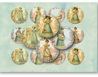 Digital Collage Sheet Download - Jane Austen 2.5 inch Circles  -  752   for Jewelry Pendants - Instant Download Printables
