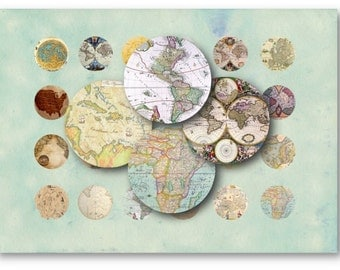 Digital Collage Sheet Download - World Maps 1 inch Circles -  421   for Jewelry Pendants - Instant Download Printables