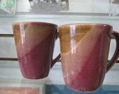 Pair of Coffee/Tea Mugs- WHEEL THROWN- Puerto Rican Pottery- Hand Made