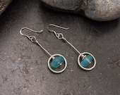 Sea glass jewelry,  Blue sea glass and hand forged sterling silver circle earrings