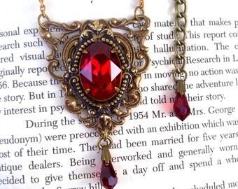 Gothic Necklace Red Swarovski Necklace Red Crystal Necklace Goth Necklace Gothic Jewelry