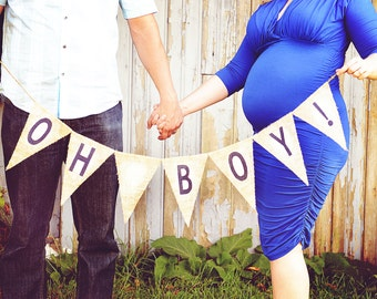 Oh Boy Burlap Banner / Maternity Photography Prop / Baby Shower Decorations