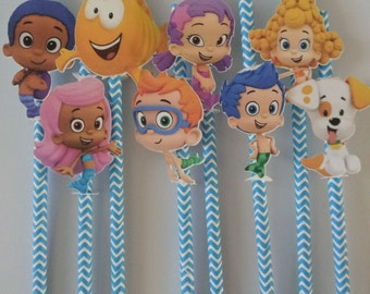 8 Bubble guppies paper straws, party favor or decoration