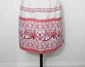 Coral Half Apron with Folk Design - Made in Austria - Cotton Heavy Durable - Sm/Med