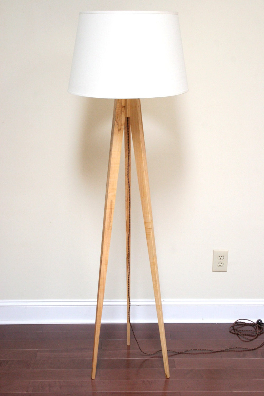 Tripod Floor Lamp Slim Wormy Maple